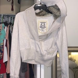 American Eagle crop sweatshirt hoodie fur medium